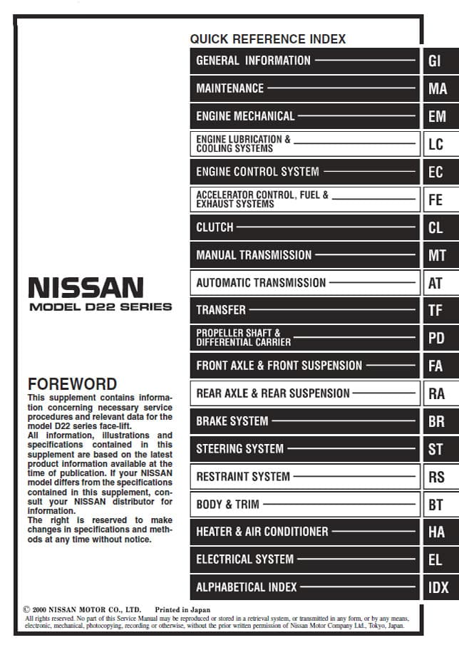 D22 Series Service Manuals - #navlife - The Home of Nissan ... on
